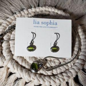 "Lia Sophia ""Green River"" Cat's Eye Silver Set"